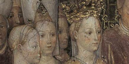 Teodolinda, regina dei Longobardi, sposa Agilulfo, duca di Torino (dettaglio). 1444, Affresco Zavattari, Duomo di Monza