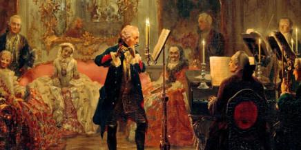 Federico il Grande suona il flauto nel suo palazzo Sanssouci. Dipinto di Adolph Menzel (1850–52)
