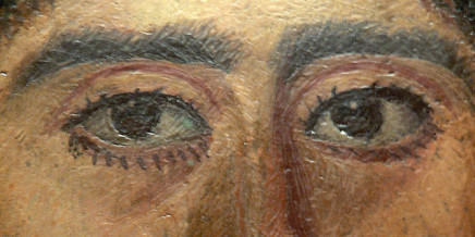 Ritratto mummia in encausto da Antinoopolis. Acconciatura della donna richiama ritratti di Sabina, moglie dell'imperatore Adriano. 2 ° secolo. Collezione del Louvre.
