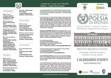 CALENDARIO EVENTI La Casa della Poesia di Monza MIRABELLO CULTURA -- Clicca per scaricare il programma completo in PDF