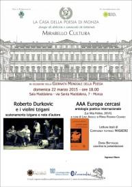 ROBERTO DURKOVIC Giornata Mondiale Poesia 2015 Locandina