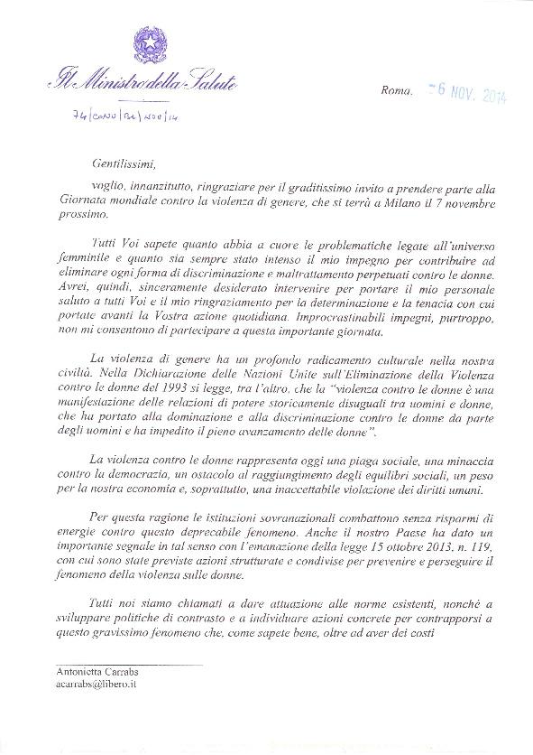 Viole<em>per</em>Enza: lettera del Ministro Beatrice Lorenzin in occasione dell'evento a Milano